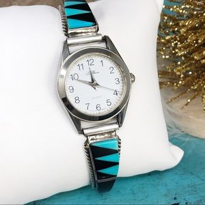 Zuni Sterling Coral Black Onyx Turquoise Watch